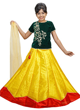 Dark Green N Yellow Velvet Kids A Line Lehenga