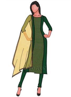 Dark Green Panelled Art Raw Silk Churidar Suit