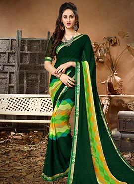 Dark Green Printed Saree
