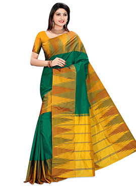 Dark Green Pure Kancheepuram Silk Border Saree