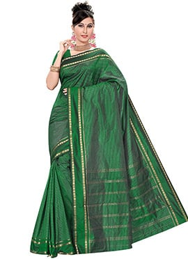 Dark Green Pure Kancheepuram Silk Border Saree