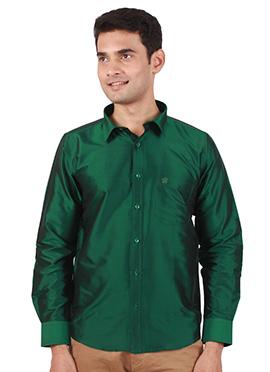 Dark Green Pure Raw Silk Shirt