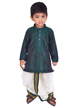 Dark Green Pure Silk Kids Dhoti Kurta