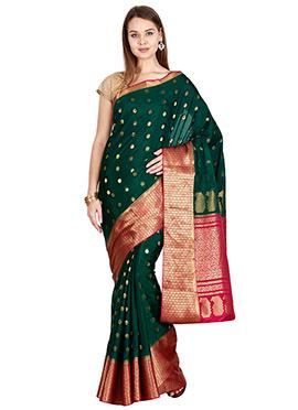 Dark Green Pure Mysore Silk Saree