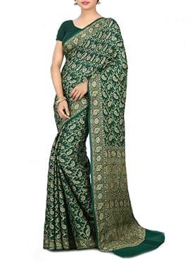 Dark Green Pure Silk Saree