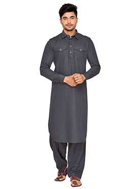 Dark Grey Art Silk Pathani Set