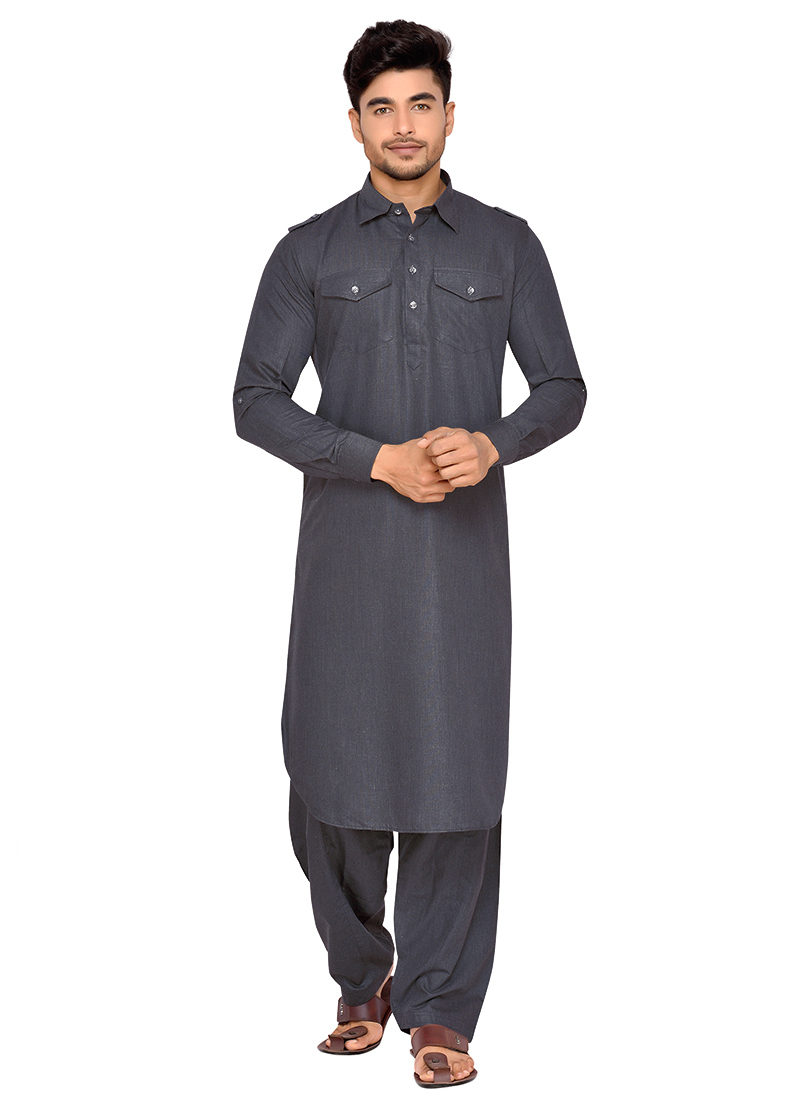 Buy Dark Grey Art Silk Pathani Set, pathani-set Online Shopping ...