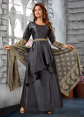 Dark Grey Embroidered Abaya Style Anarkali Suit