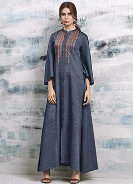 Dark Grey Embroidered Kurti