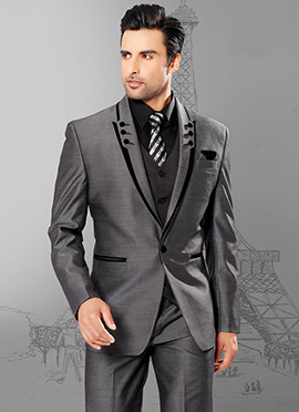 Dark Grey Imported Fabric  Suit
