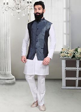 Dark Grey Jacquard Nehru Jacket