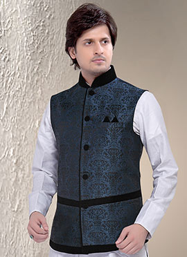 Dark Grey N Blue Brocade Nehru Jacket