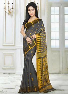 Dark Grey N Yellow Jamdani Saree