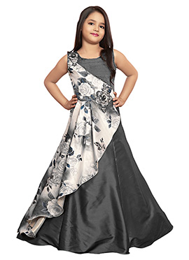 Dark Grey Printed Kids Gown