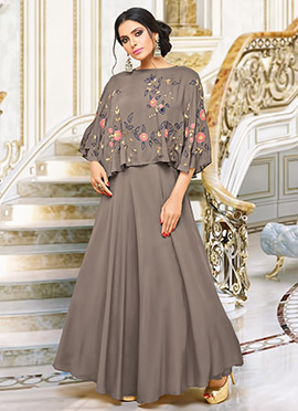 Dark Grey Satin Muslin Dress