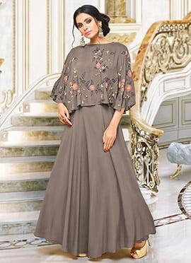 Dark Grey Satin Muslin Dress