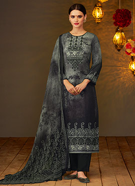 Dark Grey viscose Straight Suit