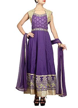 Dark Lavender Blended Cotton Anarkali Suit