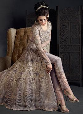 Dark Lavender Embroidered Abaya Style Anarkali Suit