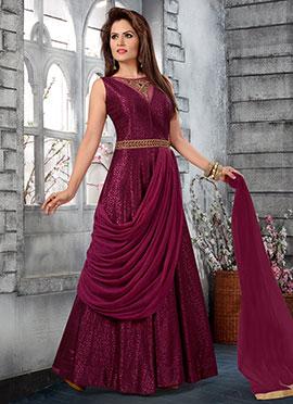 Dark Magenta Abaya Style Anarkali Suit