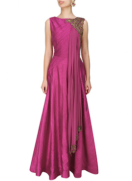 Dark Magenta Art Dupion Silk Anarkali Gown