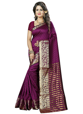 Dark Magenta Benarasi Cotton Saree