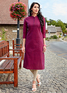 Dark Magenta Cotton Kurti
