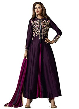 Dark Violet Embroidered Anarkali suit