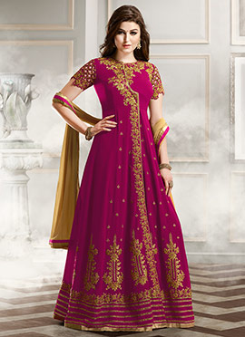 Dark Magenta Georgette Anarkali Suit