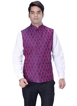 Dark Magenta Jacquard Nehru Jacket