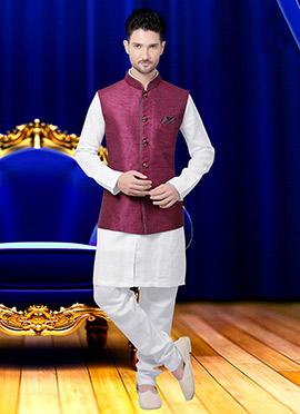 Dark Magenta Jute Nehru Jacket