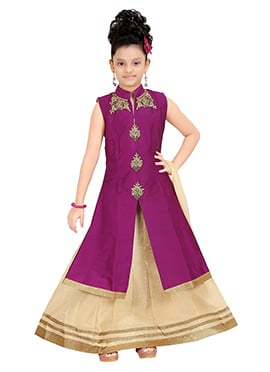 Dark Magenta Kids A Line Long Choli Lehenga