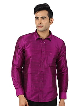 Dark Magenta Pure Dupion Silk Shirt