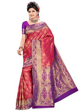 Dark Magenta Pure Kancheepuram Silk Saree