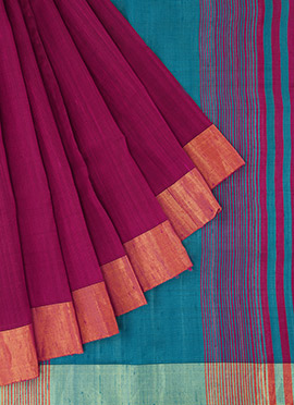 Dark Magenta Pure Raw Silk Saree