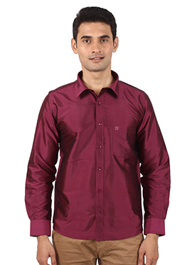 Dark Magenta Pure Raw Silk Shirt
