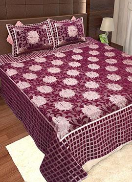 Dark Magenta Wool Bed Spread