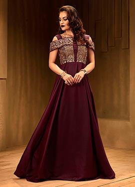 Dark Maroon Cold Shoulder Anarkali Gown