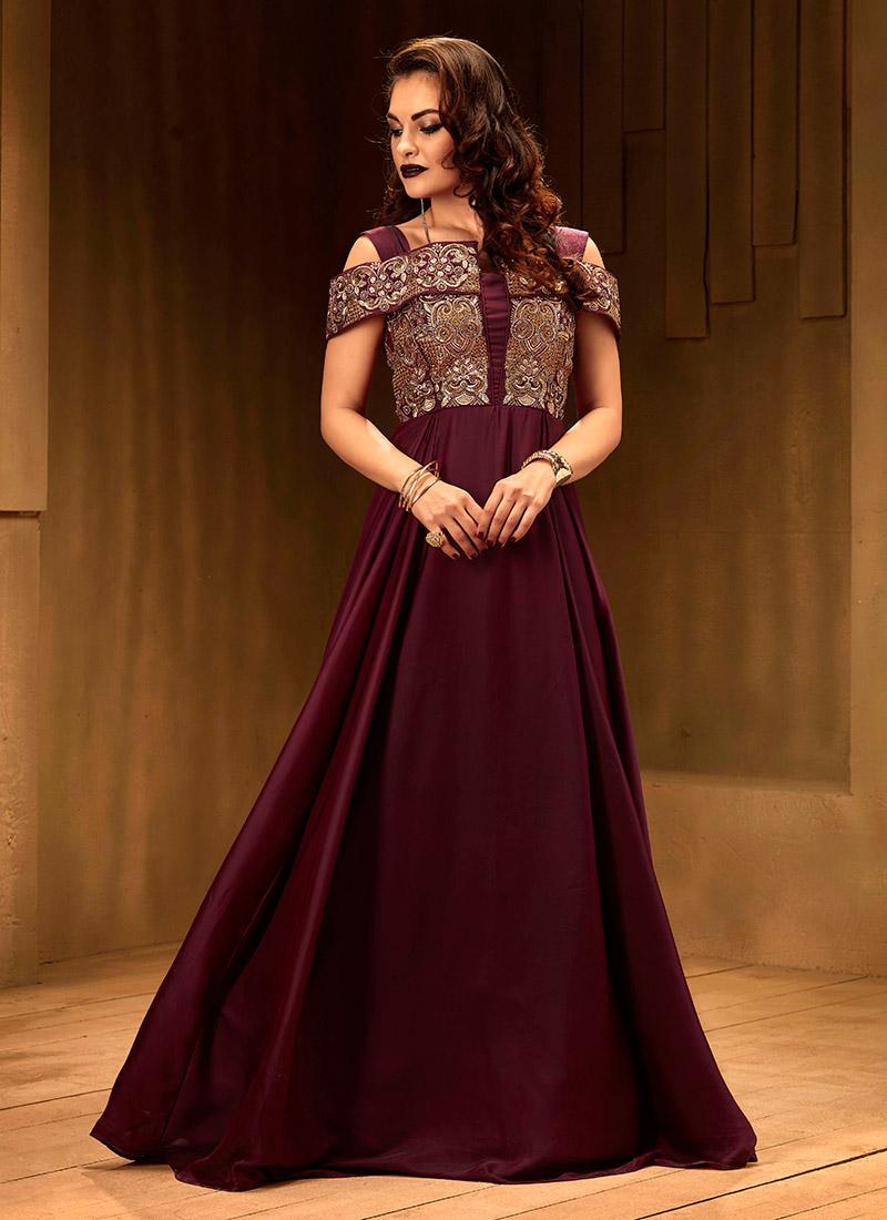 Buy Dark Maroon Cold Shoulder Anarkali Gown, Sequins , Embroidered ...