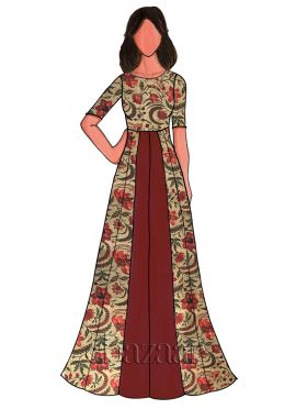Dark Maroon Cotton Floral Printed Gown