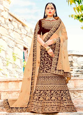 Dark Maroon Embroidered A Line Lehenga