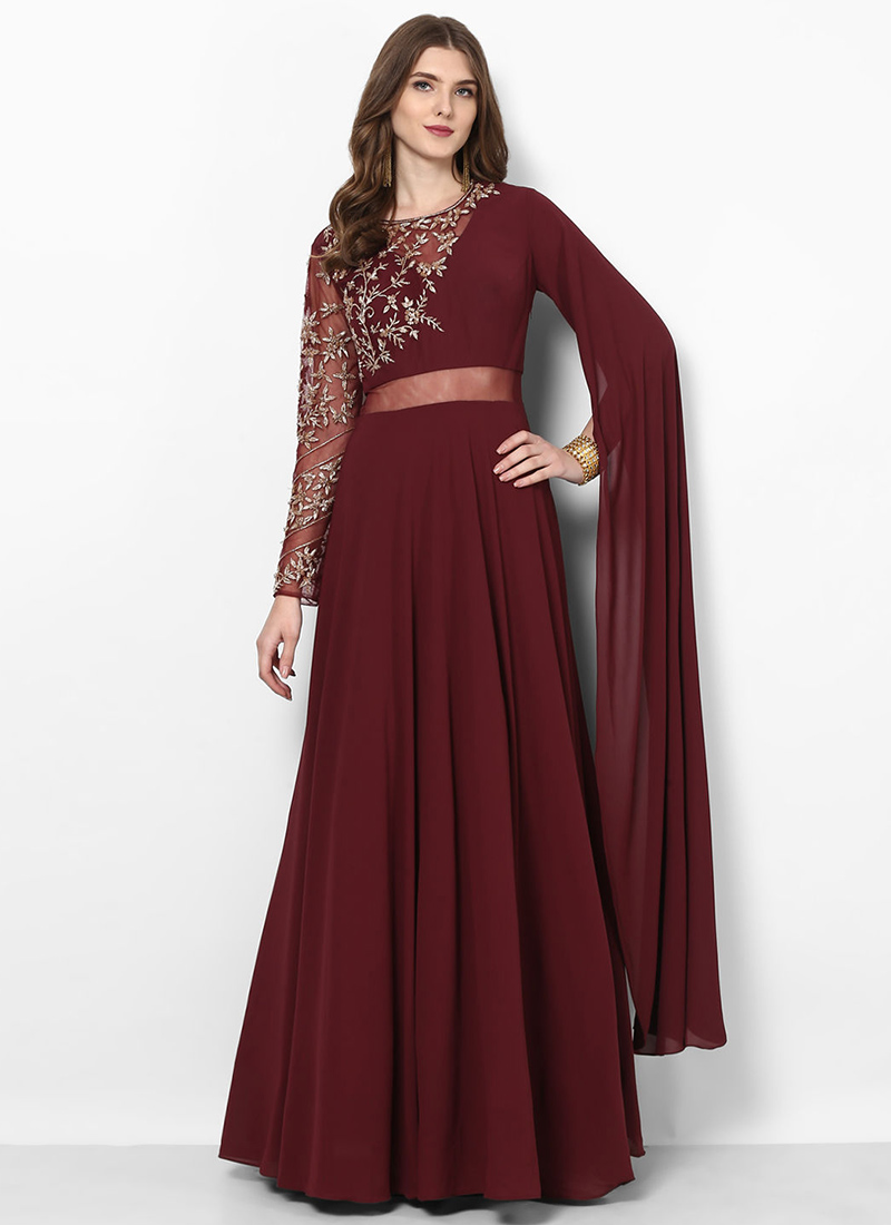 a009b715f7 Buy Dark Maroon Embroidered Anarkali Gown, Embroidered, dresses ...
