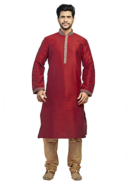 Dark Maroon Embroidered Kurta Pyjama