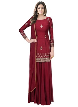 Dark Maroon Embroidered Palazzo Suit