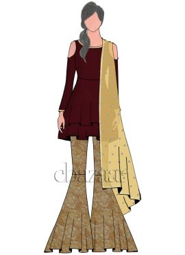 Dark Maroon Georgette with Embroider Sharara Suit