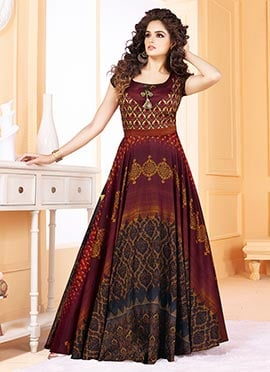 Dark Maroon Printed Gown
