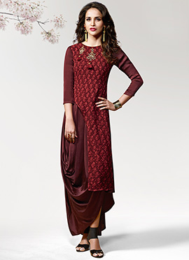 Dark Maroon Printed Layered Kurti