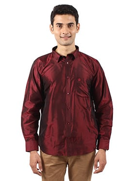 Dark Maroon Pure Silk Shirt