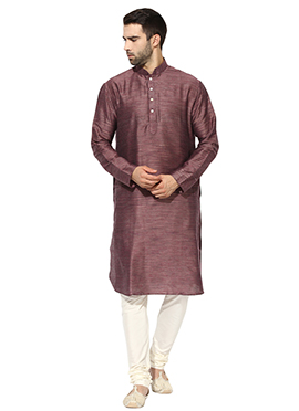 Dark Mauve Benarasi Cotton Silk Kurta