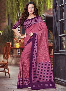 Dark Mauve Bhagalpuri Art Silk Embroidered Saree